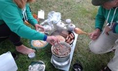 Wild camping breakfast
